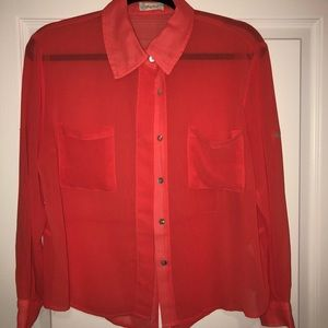 Tops - Coral button up shirt